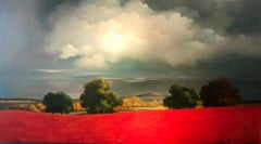 Contemporary Red Rural Landscape Oil Painting 'A View of Red' by Campbell