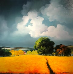 Contemporary Rural Yellow Landscape Oil Painting 'Golden 'Harvest' by Campbell