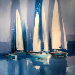 Contemporary Harbour Scene Painting with Boats 'Sailing' by Capdevia