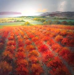 Contemporary Rural Landscape Painting with Rolling Hills 'Red Fields' by Torres