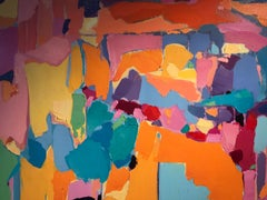 Contemporary Colourful Abstract Landscape Painting 'The Cliff' by Pepe Corcoles