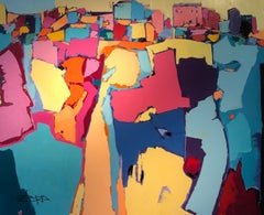 Contemporary Abstract Landscape Painting 'The Mountain Village' by Pepe Corcoles