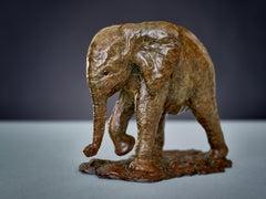 Contemporary Wildlife Bronze Sculpture 'Baby Elephant' by Tobias Martin