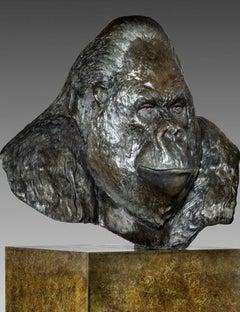 Contemporary Bronze Life Size Sculpture of a Gorilla 'Nico' by Tobias Martin