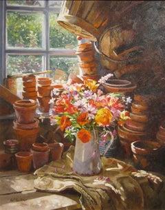 Interior Still Life Painting of Flowers 'Californian Poppies' by Neil Faulkner