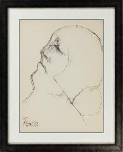 Charcoal on Paper Figurative Portrait Sketch by Dame Elisabeth Frink