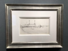 Pencil Sketch of Industrial London 'Tanker at Greenwich' by L. S  Lowry