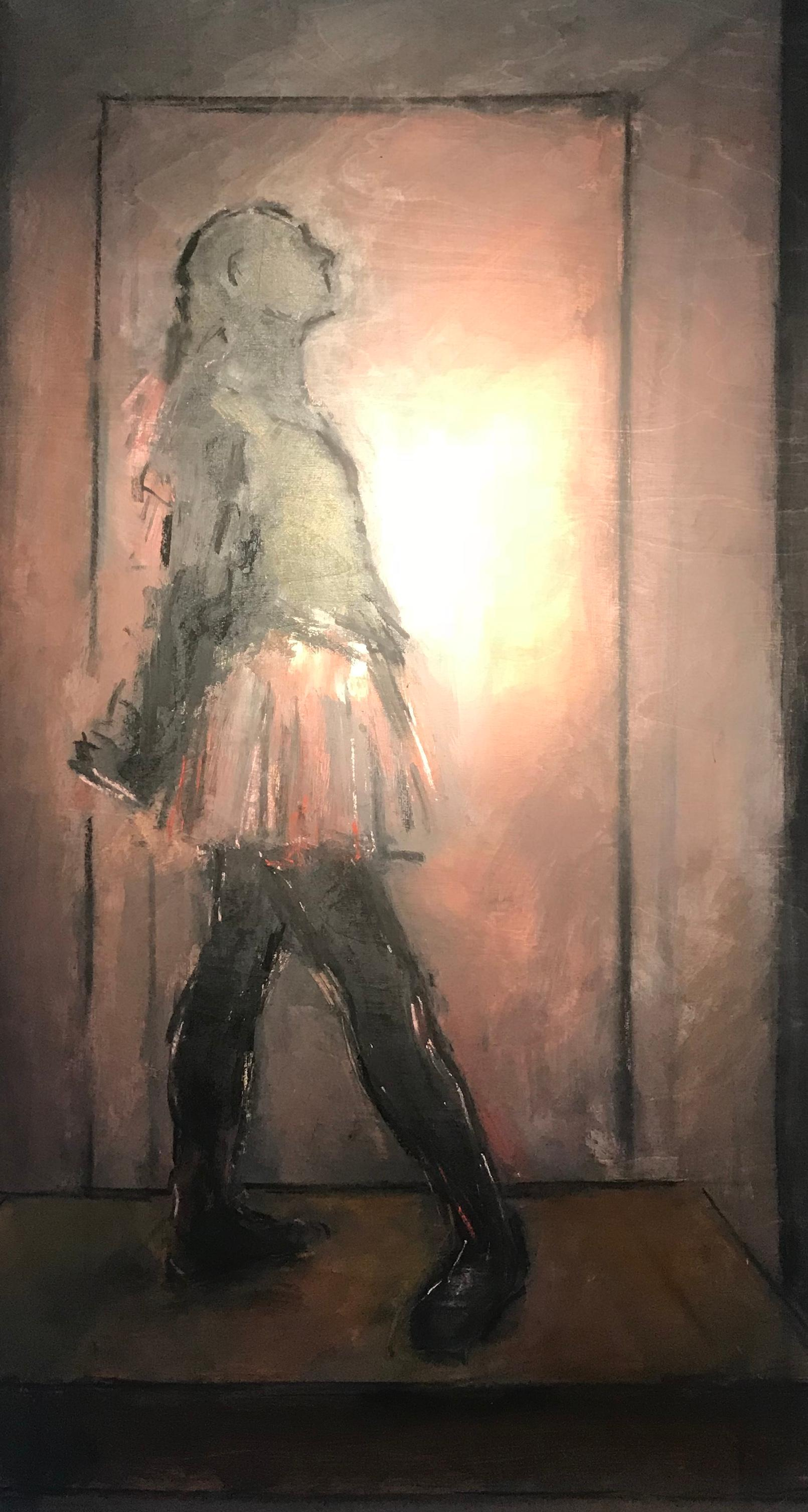 Contemporary Figurative Degas Dancer 'The Little Dancer' Pinks, Blacks & Browns
