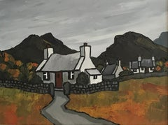 Contemporary Welsh Landscape painting of the countryside 'Nantlle Cottages'.