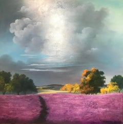 Contemporary Bold Vivid Purple rolling Landscape 'Lilac Meadow'