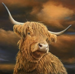 'Highland Bull' Realist Contemporary Oil Painting of a Cow. Animal & Wildlife