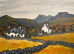 'The Pennant Valley' Welsh Landscape painting yellow hills, Cottages & Mountains