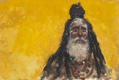 'The Golden Man' Gold & Yellow Figurative Portrait of a Tribal Warrior Man