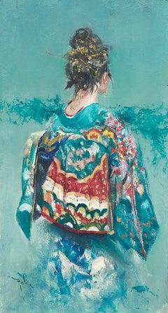 'Woman in Blue' by Ignacio Trelis. An Oriental Woman, Figurative, Bright Colours