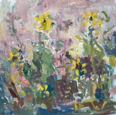 Contemporary Colourful Abstract Painting of flowers by Ian Norris 'Sunflowers'