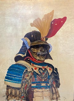 'The Warrior' Tribal Painting with Gold Leaf. Portrait of an armoured man