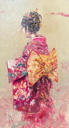 'Woman in Pink' Figurative Portrait Chinese Woman in Oriental Dress, Valentines