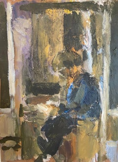 Contemporary Figurative Painting 'Max in the Doorway'. Dark Earthy colours