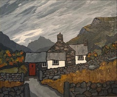 'Snowdonia Farm' Contemporary Welsh Landscape painting of a cottages & mountains
