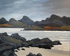'Across the Loch' Contemporary Scottish Landscape Painting of Mountains & Lake