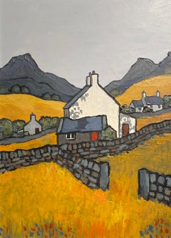 'Near Harlech' Contemporary Welsh Landscape Painting with cottage & Fields.