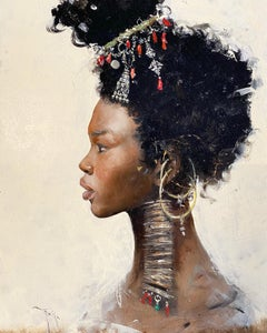 'African Princess' Realist portrait painting Tribal Black Woman with jewellery