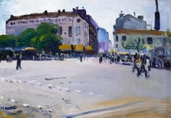 'Place de la Bataille' Busy French Paris Street Scene with Figures, Buildings