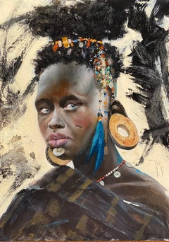 'Tribal Woman' African portrait painting of a woman figure dressed with jewels