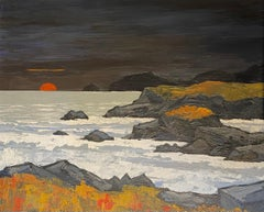 'Anglesey Sunset' Welsh Landscape painting of the sea, sun, rocks & hills