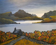 'Chapel by the Loch' Contemporary Scottish Landscape painting, orange, yellow