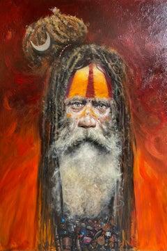 African Tribal Portrait of a man 'Sadhu, Varanesi', red & orange, traditional