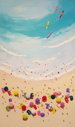 Contemporary Beach Scene, Bright & Colourful Landscape 'Beach Candy'
