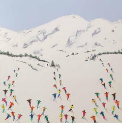Contemporary Alpine Landscape 3D painting 'Ski Lessons' by Max Todd