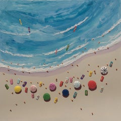 Contemporary Beach Scene 3D Painting 'Parasols' by Max Todd