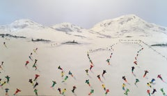 Contemporary Alpine Landscape 3D painting 'Red Run' by Max Todd