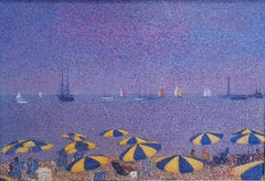 20th Century Post-Impressionist painting 'Plage a Cannes' by Jean Vollet
