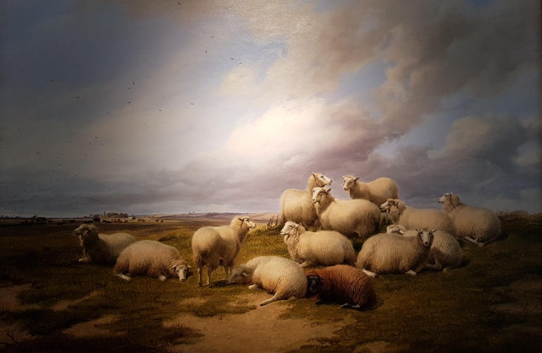 Thomas Sidney Cooper RA Animal Painting - 19th Century Landscape 'Resting Sheep' by Thomas Sidney Cooper CVO RA