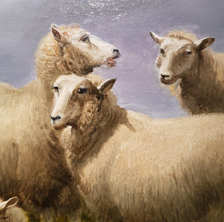 19th Century Landscape 'Resting Sheep' by Thomas Sidney Cooper CVO RA - Black Animal Painting by Thomas Sidney Cooper RA