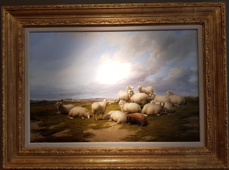 'Resting Sheep' is a wonderful landscape painting by Thomas Sidney Cooper who was an English landscape painter highly regarded for his depiction of cattle and farm animals. His attention to detail and ability to convey cattle so accurately made him