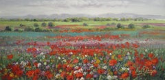 Contemporary Modern Flower Landscape 'Poppy Field' by Vincent Paya
