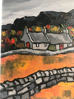 Contemporary Thick Impasto Welsh Landscape Painting 'Anglesey Cottages'. Dark