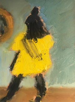 'Little Yellow Dress', vibrant yellow abstract figure painting of a girl