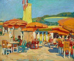 'Aix es Bains' French Colourful Beach Scene with Umbrellas, figures.Orange & Red