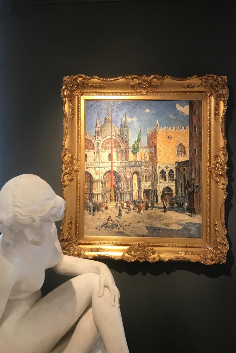 'St Marks Square' Venice painting of architecture and figures. Venetian scene - Painting by Willhelm Blanke