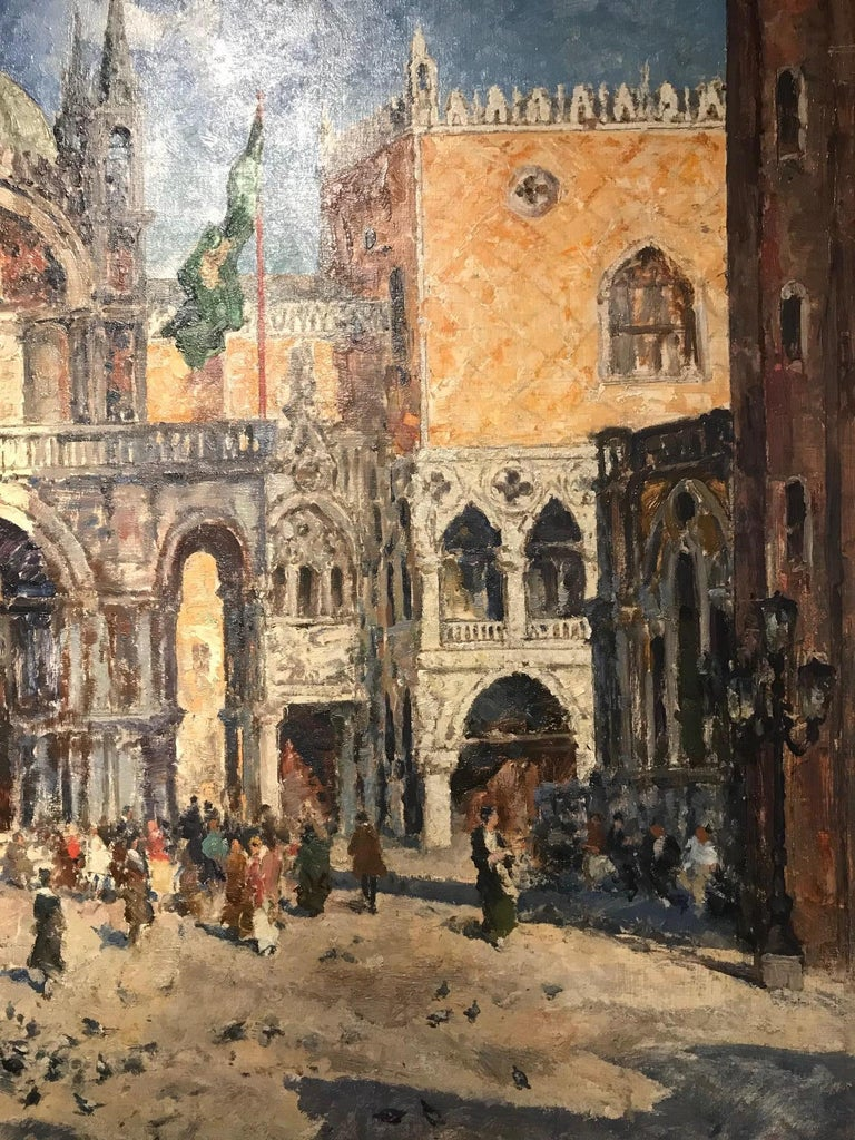 'St Marks Square' Venice painting of architecture and figures. Venetian scene - Brown Landscape Painting by Willhelm Blanke