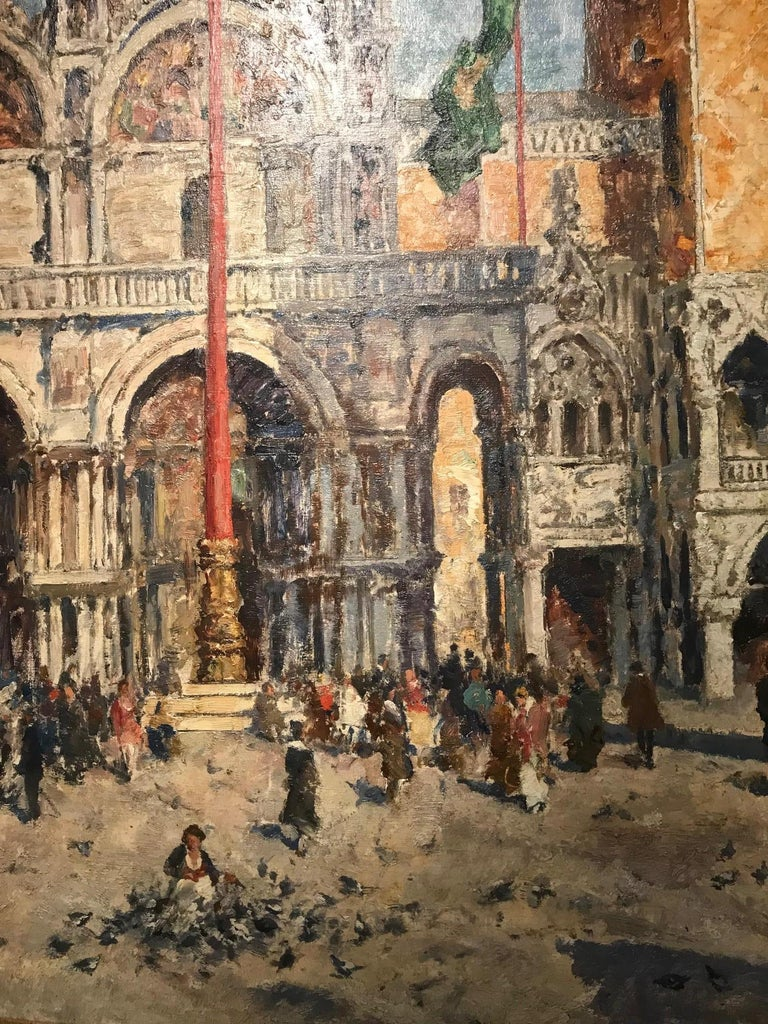 A beautiful painting depicting St Marks Square in Venice. A bold and vibrant colour palette that would jump of the wall. Venetian city scape that depicts Venetian life, with figures, birds and architecture.   Blanke was a German artist who had a