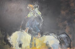 'Self Portrait on a Horse' Contemporary Abstract painting of a woman & horse