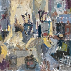 'Brush, Pots & Paint' Contemporary Abstract Interior Painting of artist studio