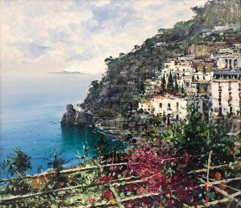 Costiera - 20th Century Coastal Seascape Oil Painting on Board by Italian Artist