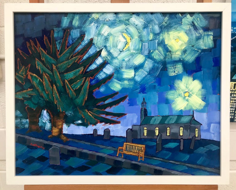 Starry Night after Vincent Van Gogh Saint Remy 1889 by Emerging British Artist - Painting by Anthony D Padgett